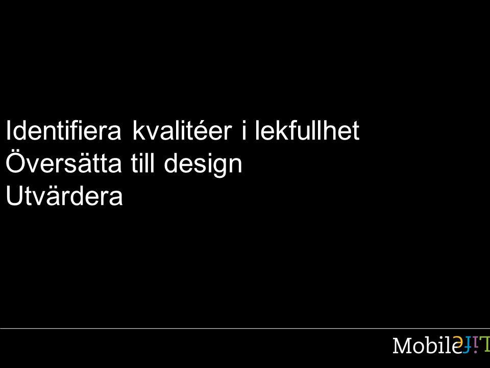 Identifiera kvalitéer i lekfullhet Översätta till design Utvärdera