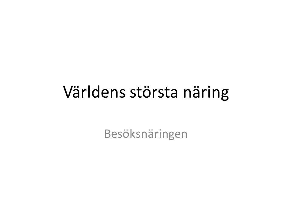 Resor till släkt och vänner • Denna typ av resor utgör en fjärdedel av turismen i Sverige • Oftast bor man hos släkt och vänner • Men man spenderar pengar på transporter, mat och underhållning • På så sätt bidrar man till den lokala inkomsten för turismen i området