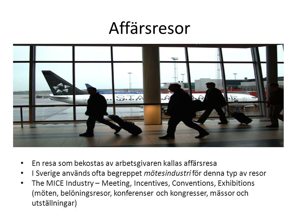 Affärsresor • En resa som bekostas av arbetsgivaren kallas affärsresa • I Sverige används ofta begreppet mötesindustri för denna typ av resor • The MI