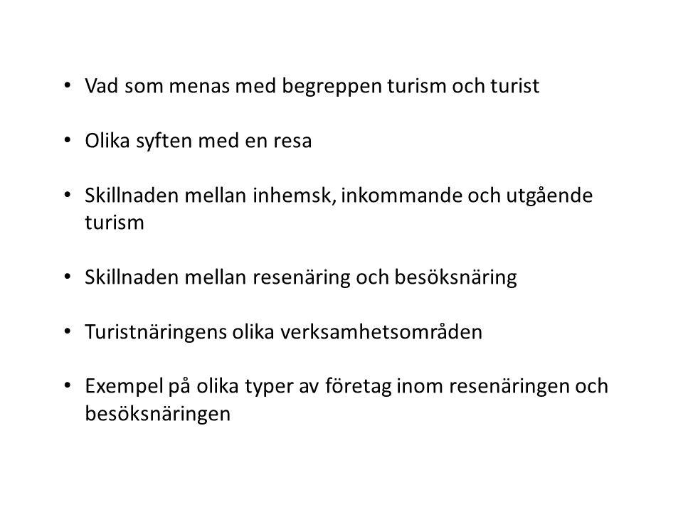 Affärsresor • En resa som bekostas av arbetsgivaren kallas affärsresa • I Sverige används ofta begreppet mötesindustri för denna typ av resor • The MICE Industry – Meeting, Incentives, Conventions, Exhibitions (möten, belöningsresor, konferenser och kongresser, mässor och utställningar)