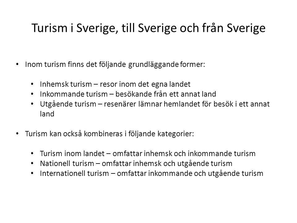 Turism i Sverige, till Sverige och från Sverige • Inom turism finns det följande grundläggande former: • Inhemsk turism – resor inom det egna landet • Inkommande turism – besökande från ett annat land • Utgående turism – resenärer lämnar hemlandet för besök i ett annat land • Turism kan också kombineras i följande kategorier: • Turism inom landet – omfattar inhemsk och inkommande turism • Nationell turism – omfattar inhemsk och utgående turism • Internationell turism – omfattar inkommande och utgående turism