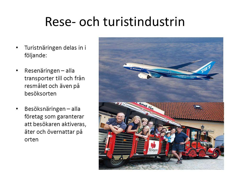 Rese- och turistindustrin • Turistnäringen delas in i följande: • Resenäringen – alla transporter till och från resmålet och även på besöksorten • Bes