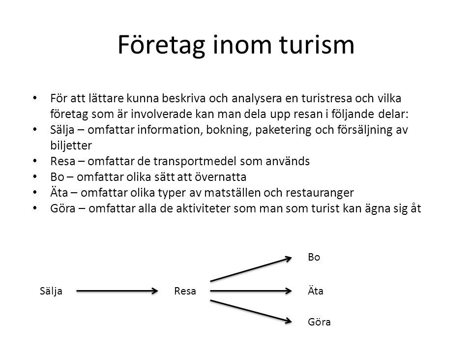 Företag inom turism • För att lättare kunna beskriva och analysera en turistresa och vilka företag som är involverade kan man dela upp resan i följand