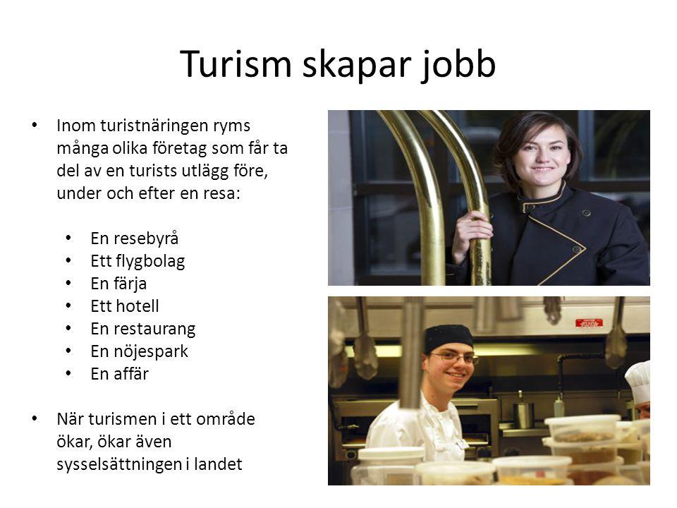 Turism skapar jobb • Inom turistnäringen ryms många olika företag som får ta del av en turists utlägg före, under och efter en resa: • En resebyrå • Ett flygbolag • En färja • Ett hotell • En restaurang • En nöjespark • En affär • När turismen i ett område ökar, ökar även sysselsättningen i landet