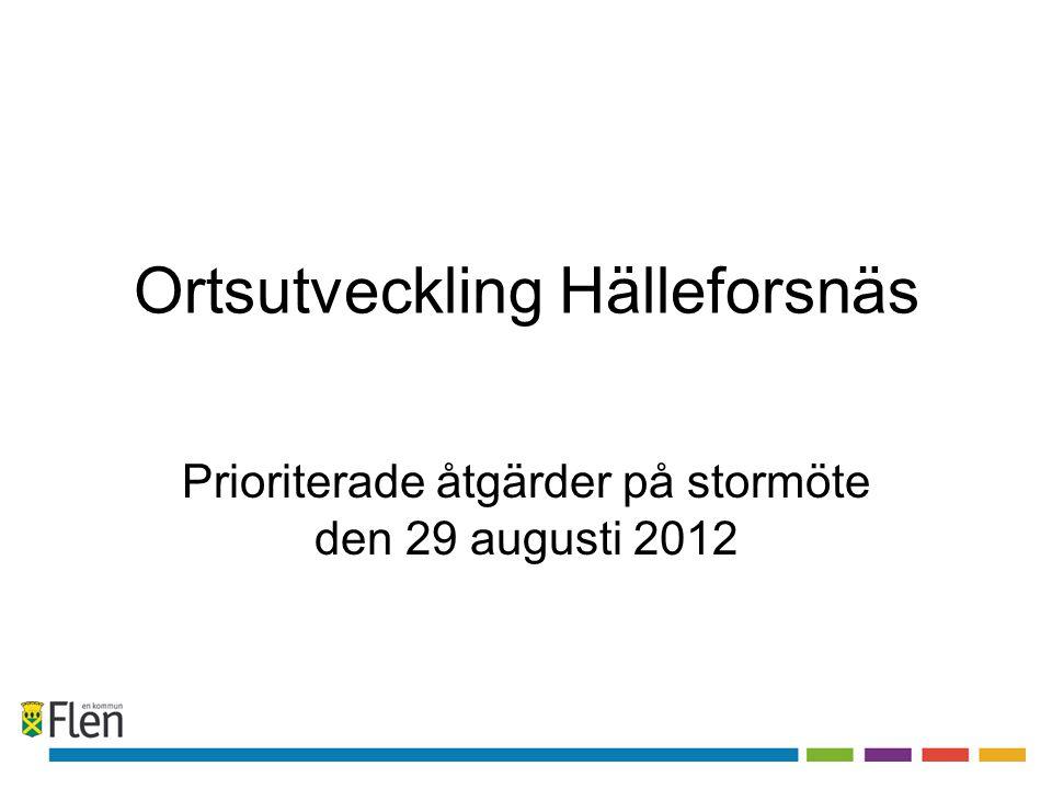 Ortsutveckling Hälleforsnäs Prioriterade åtgärder på stormöte den 29 augusti 2012