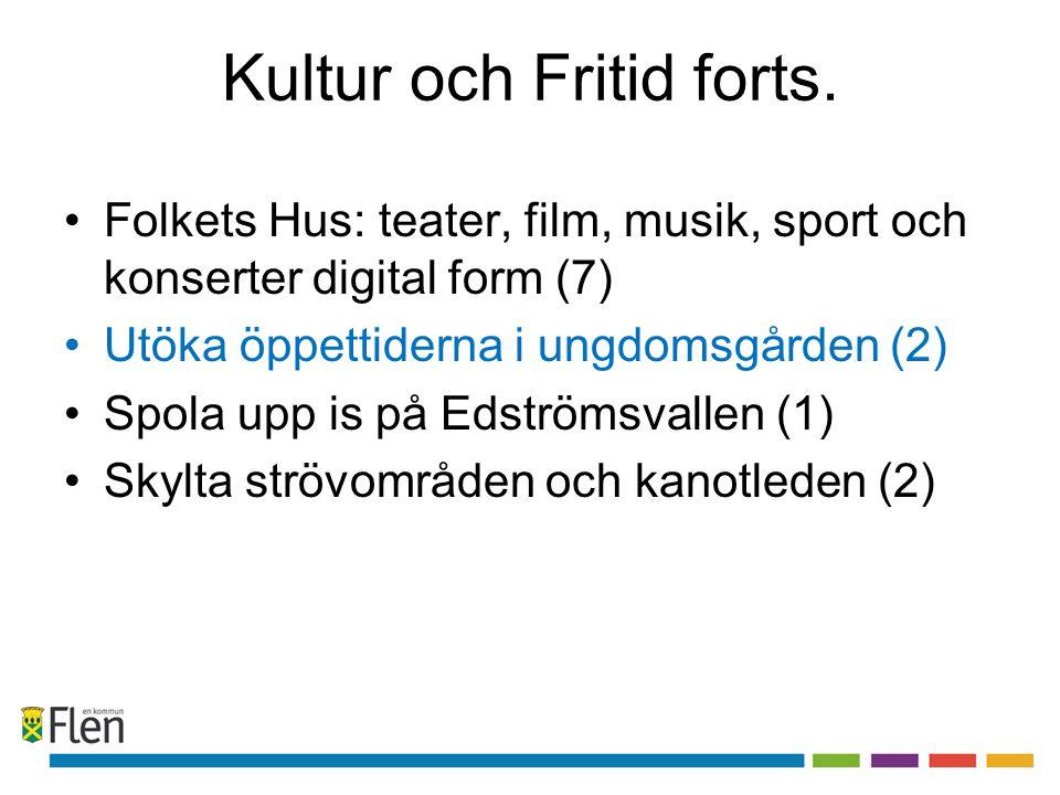 Kultur och Fritid forts. •Folkets Hus: teater, film, musik, sport och konserter digital form (7) •Utöka öppettiderna i ungdomsgården (2) •Spola upp is