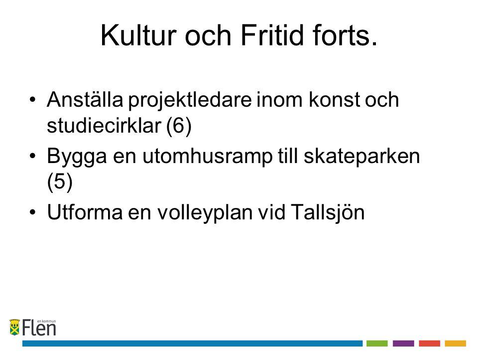 Kultur och Fritid forts. •Anställa projektledare inom konst och studiecirklar (6) •Bygga en utomhusramp till skateparken (5) •Utforma en volleyplan vi