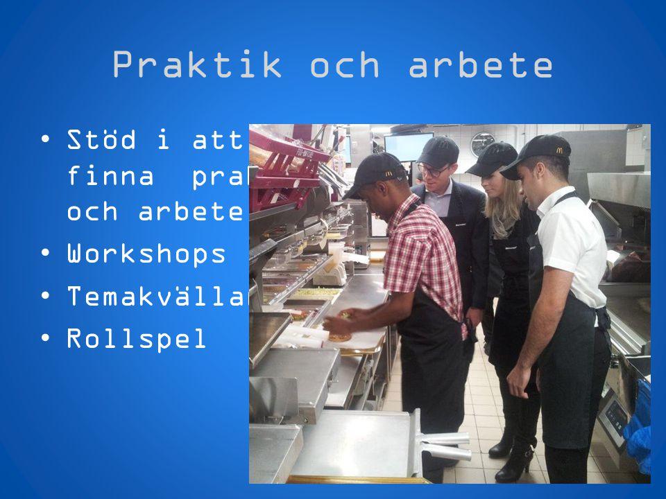 Praktik och arbete •Stöd i att finna praktik och arbete •Workshops •Temakvällar •Rollspel