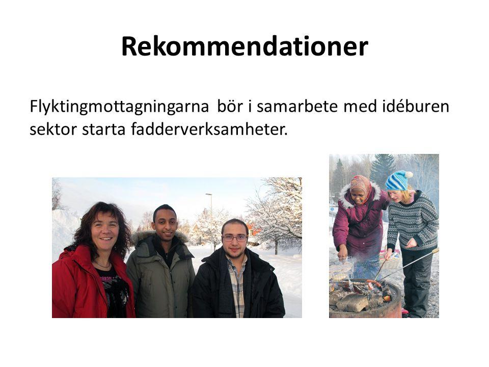 Rekommendationer Flyktingmottagningarna bör i samarbete med idéburen sektor starta fadderverksamheter.