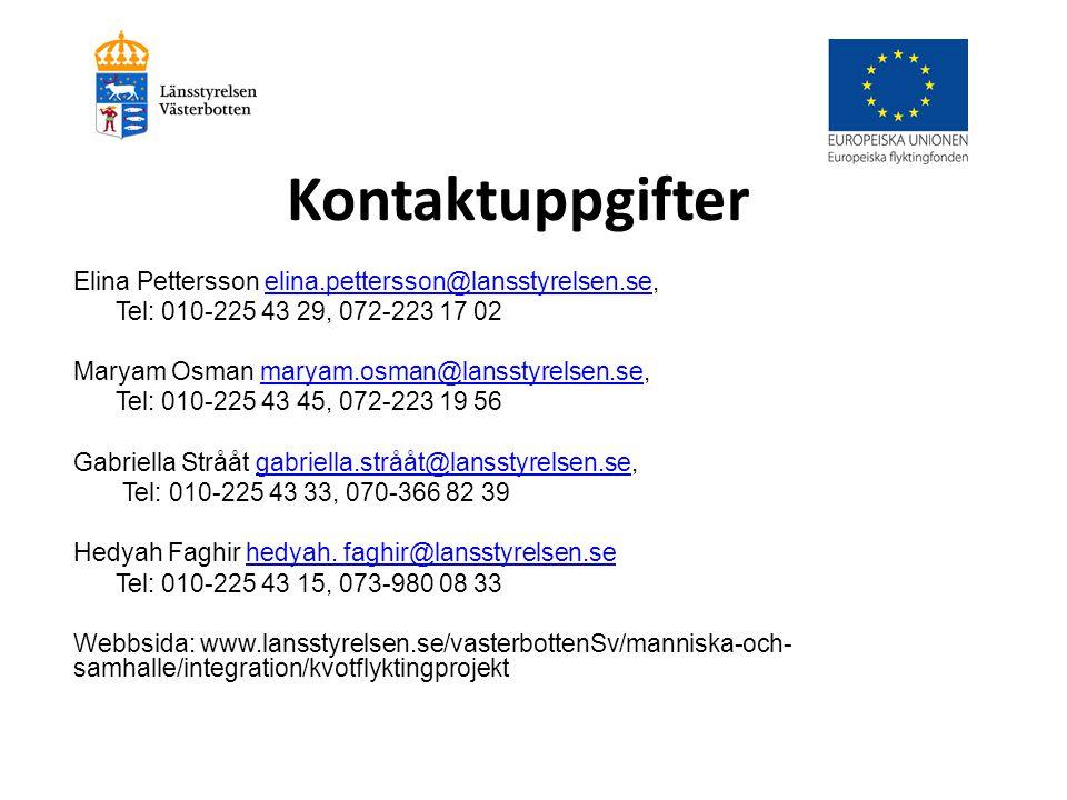 Kontaktuppgifter Elina Pettersson elina.pettersson@lansstyrelsen.se,elina.pettersson@lansstyrelsen.se Tel: 010-225 43 29, 072-223 17 02 Maryam Osman m