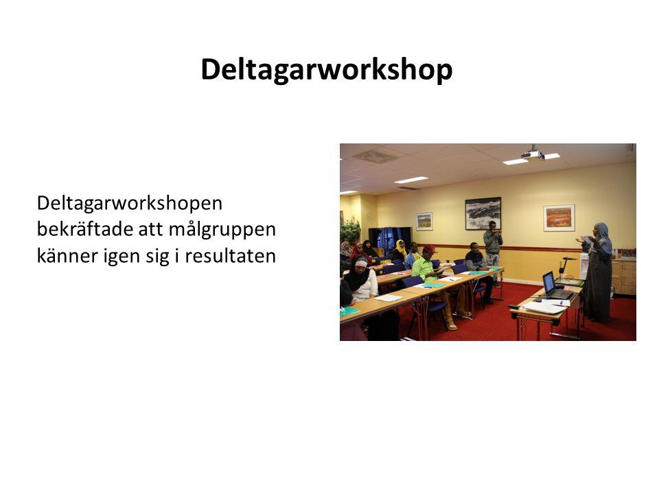 Deltagarworkshop Deltagarworkshopen bekräftade att målgruppen känner igen sig i resultaten