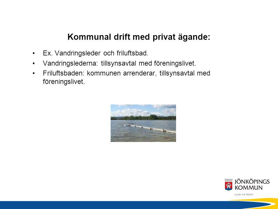Kommunal drift med privat ägande: •Ex. Vandringsleder och friluftsbad.