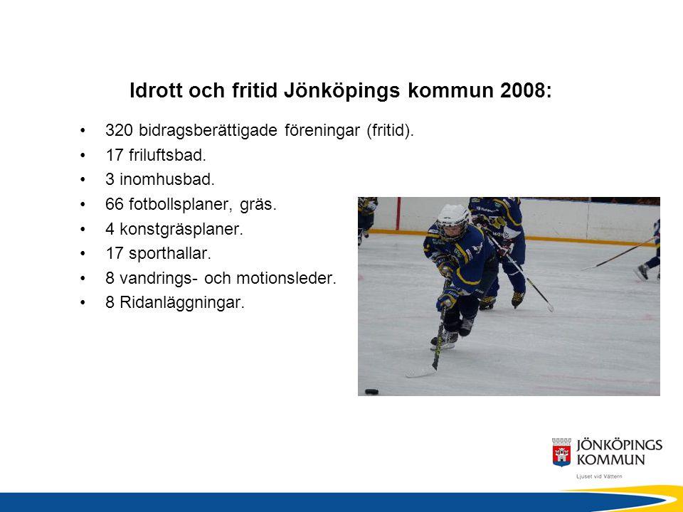 Idrott och fritid Jönköpings kommun 2008: •320 bidragsberättigade föreningar (fritid).