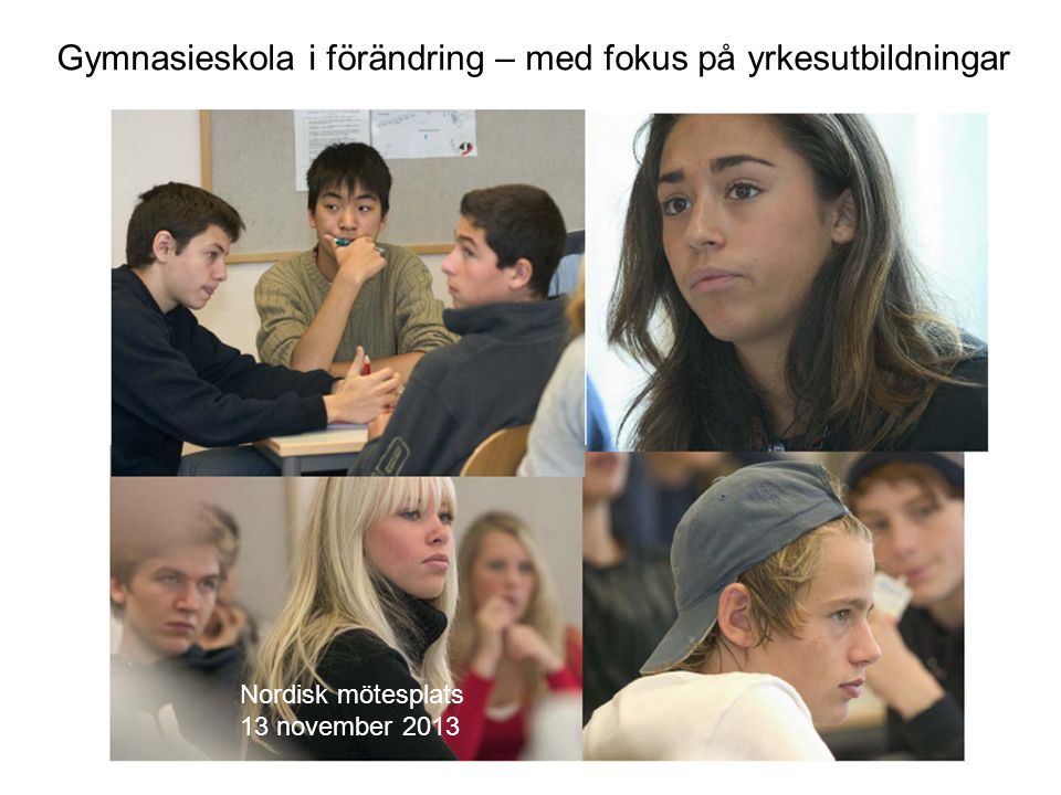Gymnasieskola i förändring – med fokus på yrkesutbildningar Nordisk mötesplats 13 november 2013