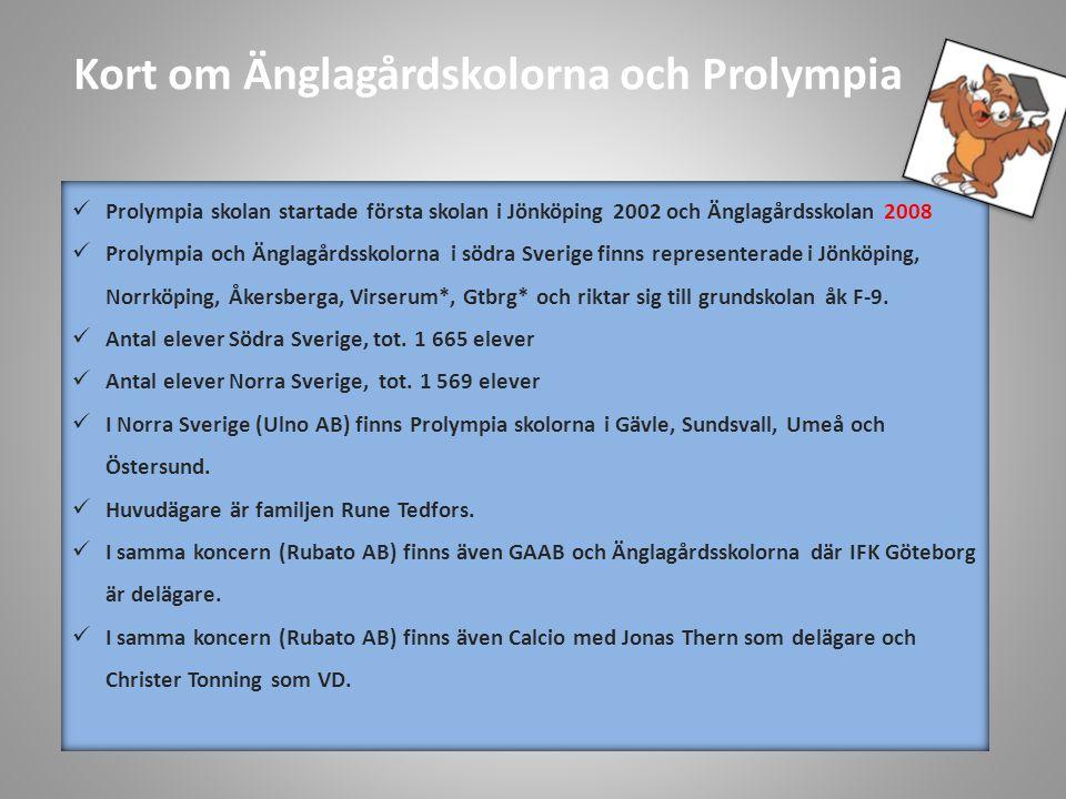 Kort om Änglagårdskolorna och Prolympia  Prolympia skolan startade första skolan i Jönköping 2002 och Änglagårdsskolan 2008  Prolympia och Änglagårdsskolorna i södra Sverige finns representerade i Jönköping, Norrköping, Åkersberga, Virserum*, Gtbrg* och riktar sig till grundskolan åk F-9.