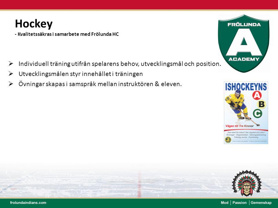 Hockey - Kvalitetssäkras i samarbete med Frölunda HC  Individuell träning utifrån spelarens behov, utvecklingsmål och position.  Utvecklingsmålen st