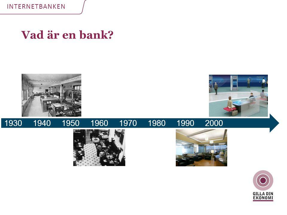 Vad är en bank? INTERNETBANKEN 19301940195019601970198019902000