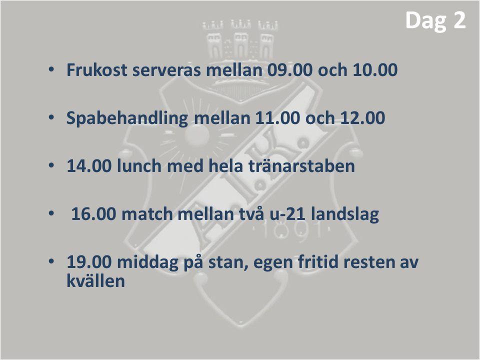 • Frukost serveras mellan 09.00 och 10.00 • Spabehandling mellan 11.00 och 12.00 • 14.00 lunch med hela tränarstaben • 16.00 match mellan två u-21 lan