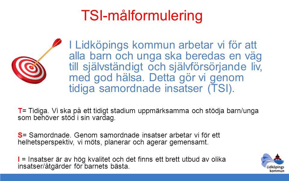 TSI-målformulering I Lidköpings kommun arbetar vi för att alla barn och unga ska beredas en väg till självständigt och självförsörjande liv, med god h