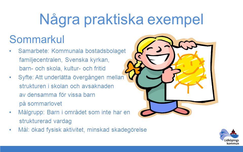 Några praktiska exempel Sommarkul •Samarbete: Kommunala bostadsbolaget familjecentralen, Svenska kyrkan, barn- och skola, kultur- och fritid •Syfte: A