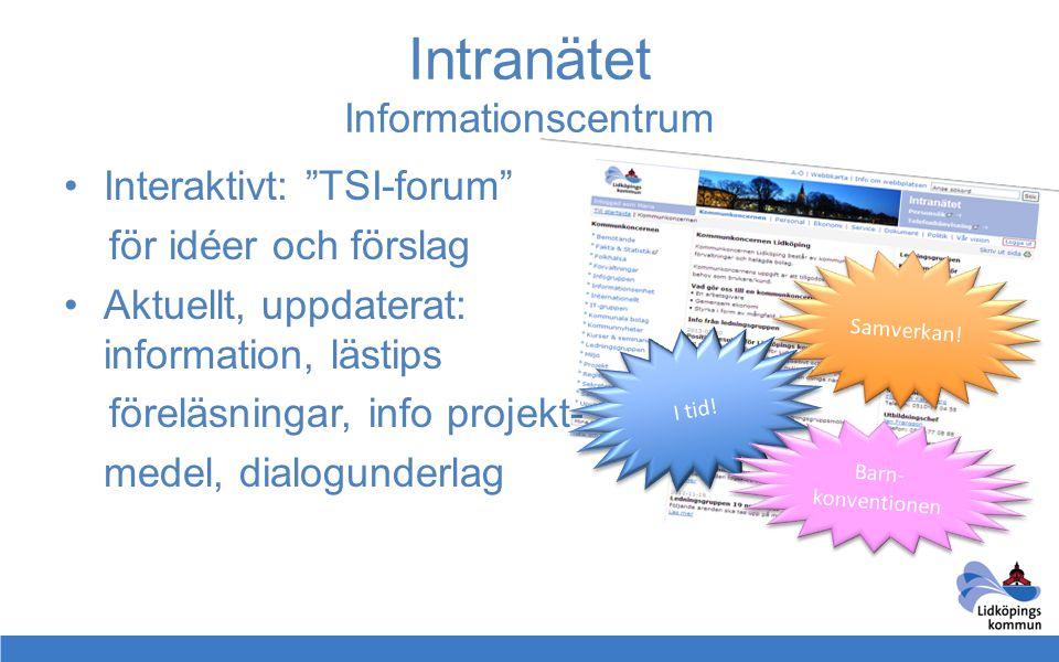 """Intranätet Informationscentrum •Interaktivt: """"TSI-forum"""" för idéer och förslag •Aktuellt, uppdaterat: information, lästips föreläsningar, info projekt"""