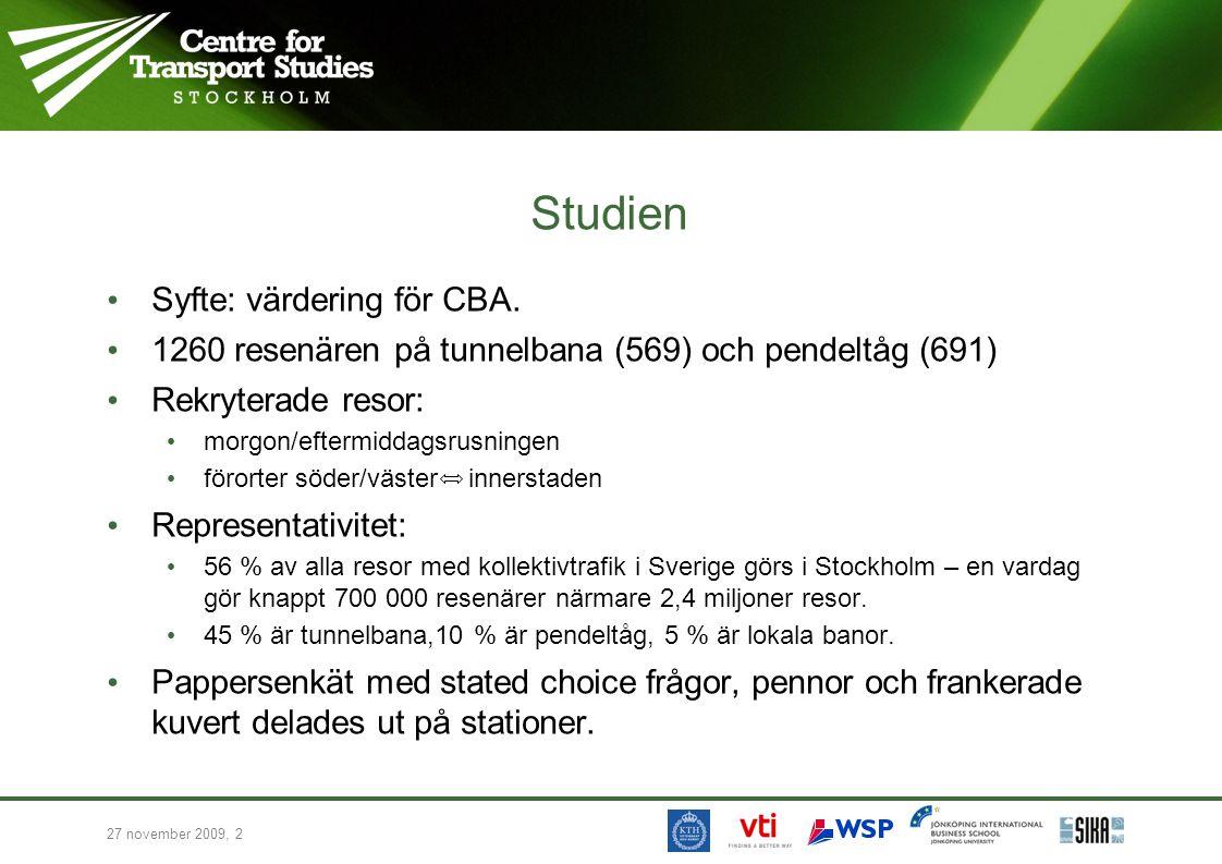 27 november 2009, 2 Studien • Syfte: värdering för CBA. • 1260 resenären på tunnelbana (569) och pendeltåg (691) • Rekryterade resor: • morgon/eftermi