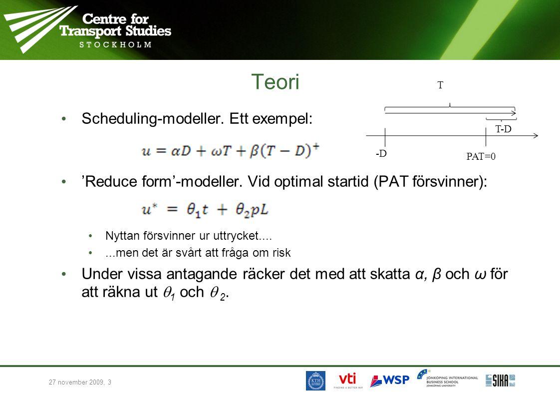 27 november 2009, 3 Teori • Scheduling-modeller. Ett exempel: • 'Reduce form'-modeller. Vid optimal startid (PAT försvinner): • Nyttan försvinner ur u