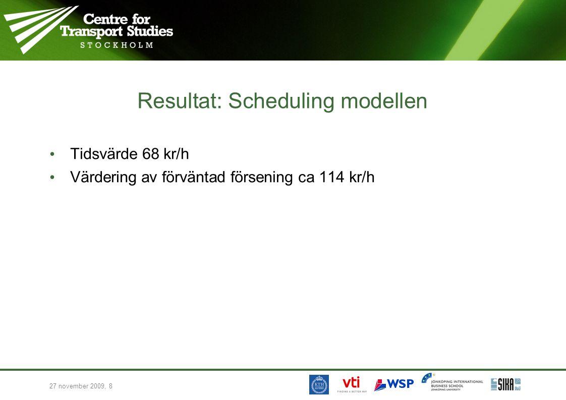 27 november 2009, 8 Resultat: Scheduling modellen • Tidsvärde 68 kr/h • Värdering av förväntad försening ca 114 kr/h