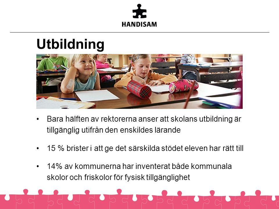 Utbildning •Bara hälften av rektorerna anser att skolans utbildning är tillgänglig utifrån den enskildes lärande •15 % brister i att ge det särskilda
