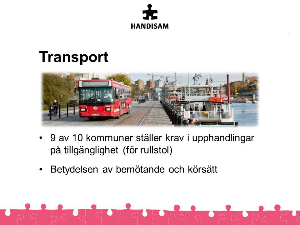 Transport •9 av 10 kommuner ställer krav i upphandlingar på tillgänglighet (för rullstol) •Betydelsen av bemötande och körsätt