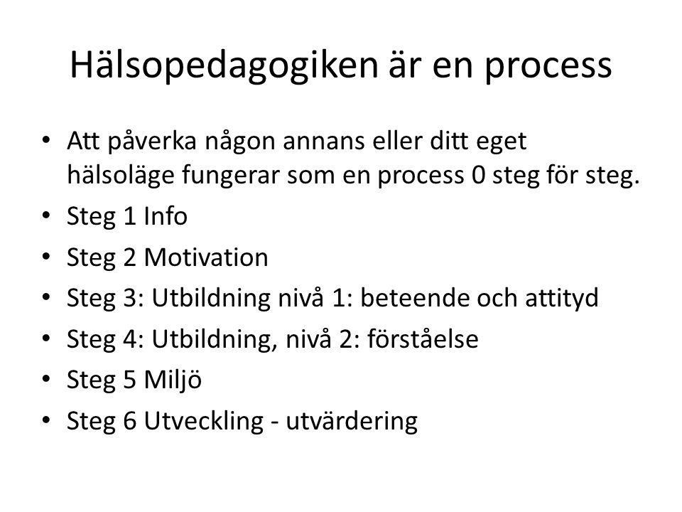 Hälsopedagogiken är en process • Att påverka någon annans eller ditt eget hälsoläge fungerar som en process 0 steg för steg.