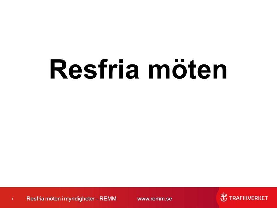 2 Resfria möten i myndigheter – REMMwww.remm.se Med resfria möten menas möten på distans i realtid, med teknikens hjälp, såsom telefon-, video- och webbmöten.