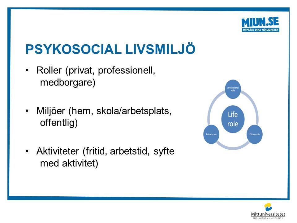 PSYKOSOCIAL LIVSMILJÖ •Roller (privat, professionell, medborgare) •Miljöer (hem, skola/arbetsplats, offentlig) •Aktiviteter (fritid, arbetstid, syfte med aktivitet)