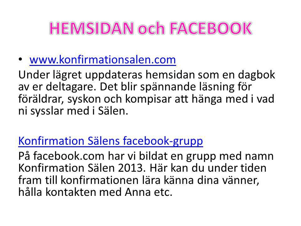 • www.konfirmationsalen.com www.konfirmationsalen.com Under lägret uppdateras hemsidan som en dagbok av er deltagare.