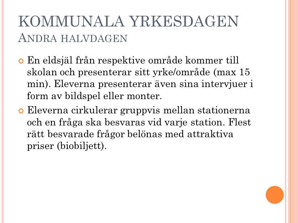 KOMMUNALA YRKESDAGEN A NDRA HALVDAGEN En eldsjäl från respektive område kommer till skolan och presenterar sitt yrke/område (max 15 min).