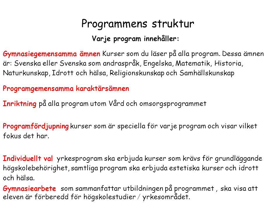Programmens struktur Varje program innehåller: Gymnasiegemensamma ämnen Kurser som du läser på alla program. Dessa ämnen är: Svenska eller Svenska som
