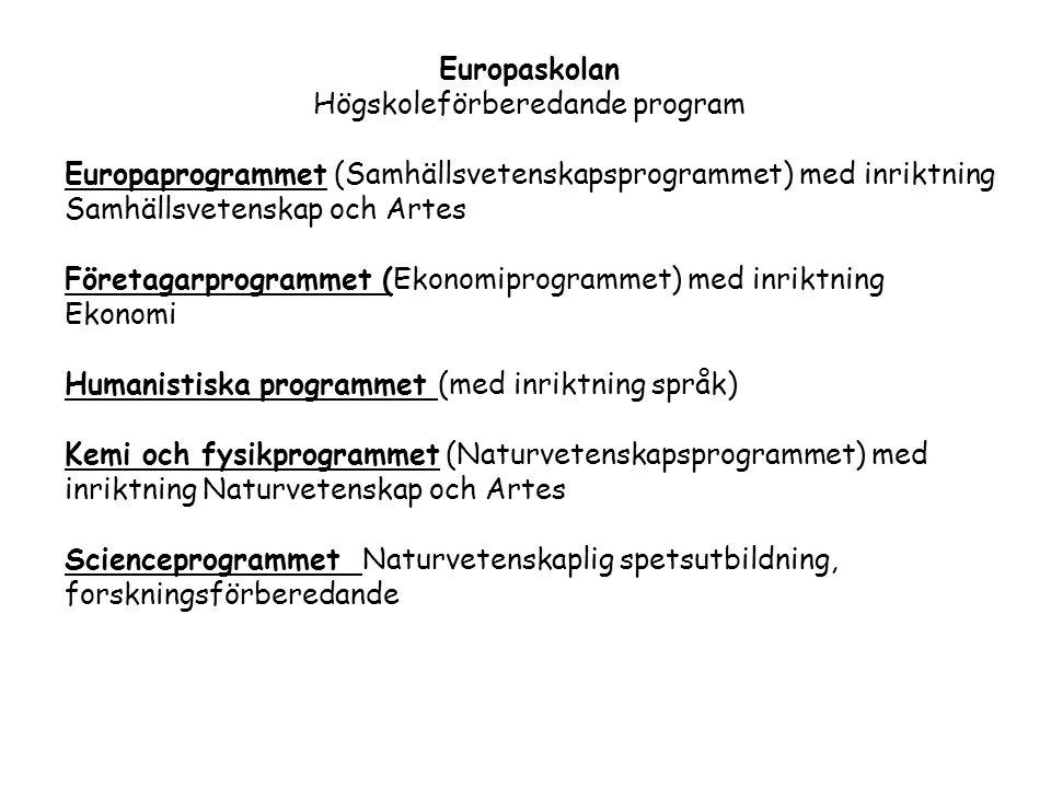 Europaskolan Högskoleförberedande program Europaprogrammet (Samhällsvetenskapsprogrammet) med inriktning Samhällsvetenskap och Artes Företagarprogramm