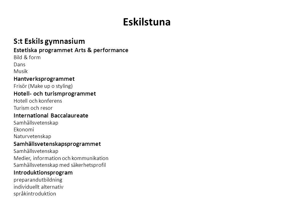 Eskilstuna S:t Eskils gymnasium Estetiska programmet Arts & performance Bild & form Dans Musik Hantverksprogrammet Frisör (Make up o styling) Hotell-