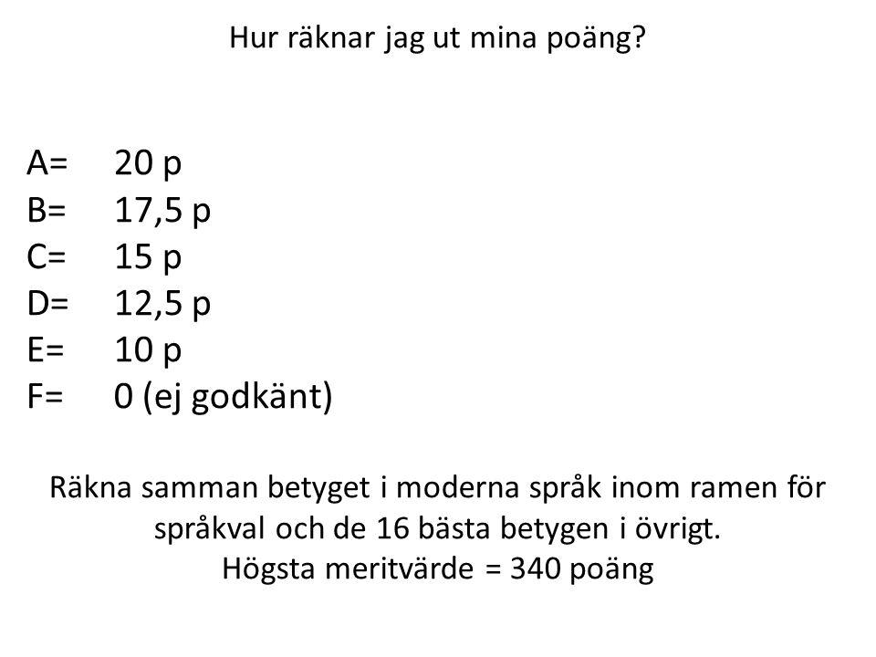 Hur räknar jag ut mina poäng? A=20 p B=17,5 p C=15 p D=12,5 p E=10 p F=0 (ej godkänt) Räkna samman betyget i moderna språk inom ramen för språkval och