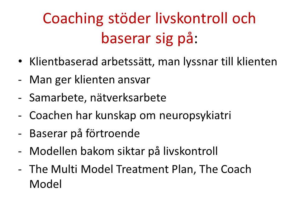 Coaching stöder livskontroll och baserar sig på: • Klientbaserad arbetssätt, man lyssnar till klienten -Man ger klienten ansvar -Samarbete, nätverksarbete -Coachen har kunskap om neuropsykiatri -Baserar på förtroende -Modellen bakom siktar på livskontroll -The Multi Model Treatment Plan, The Coach Model