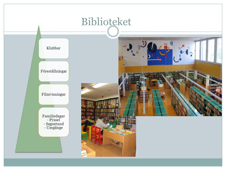 Biblioteket KlubbarFöreställningarFilmvisningar Familjedagar - Pyssel - Sagostund - Umgänge