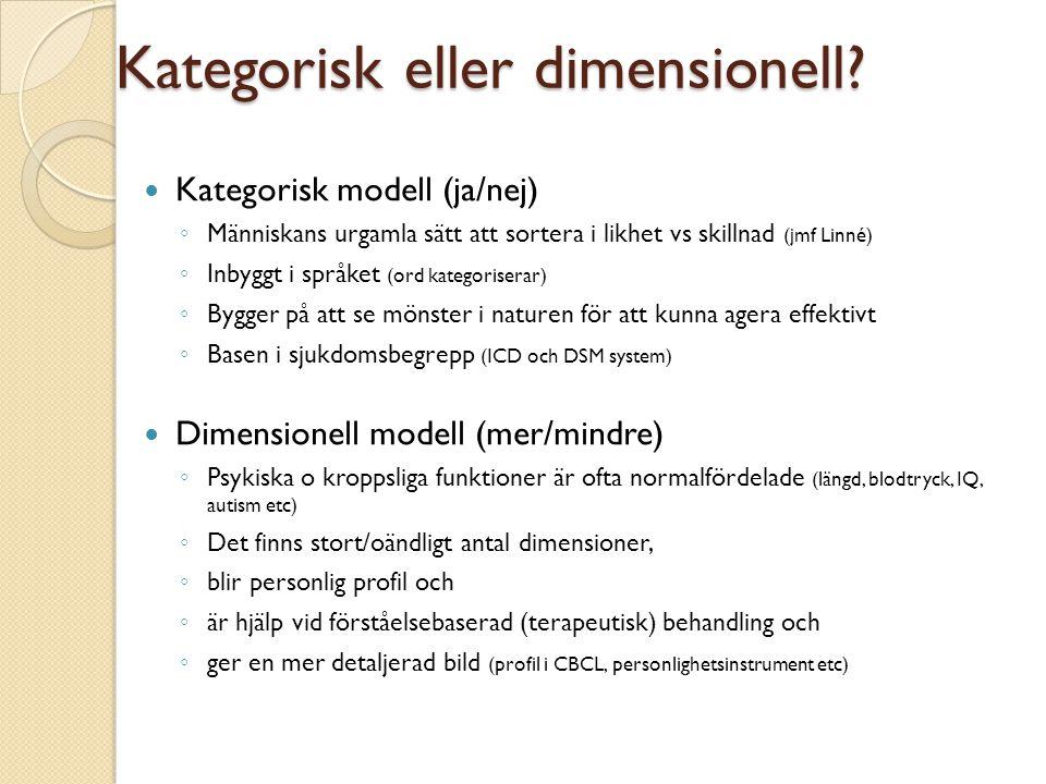 Kategorisk eller dimensionell?  Kategorisk modell (ja/nej) ◦ Människans urgamla sätt att sortera i likhet vs skillnad (jmf Linné) ◦ Inbyggt i språket