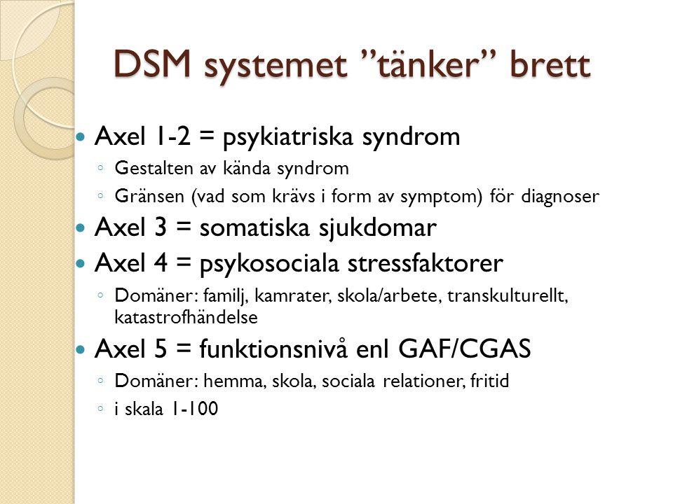 """DSM systemet """"tänker"""" brett  Axel 1-2 = psykiatriska syndrom ◦ Gestalten av kända syndrom ◦ Gränsen (vad som krävs i form av symptom) för diagnoser """
