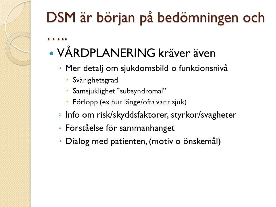 """DSM är början på bedömningen och …..  VÅRDPLANERING kräver även ◦ Mer detalj om sjukdomsbild o funktionsnivå  Svårighetsgrad  Samsjuklighet """"subsyn"""