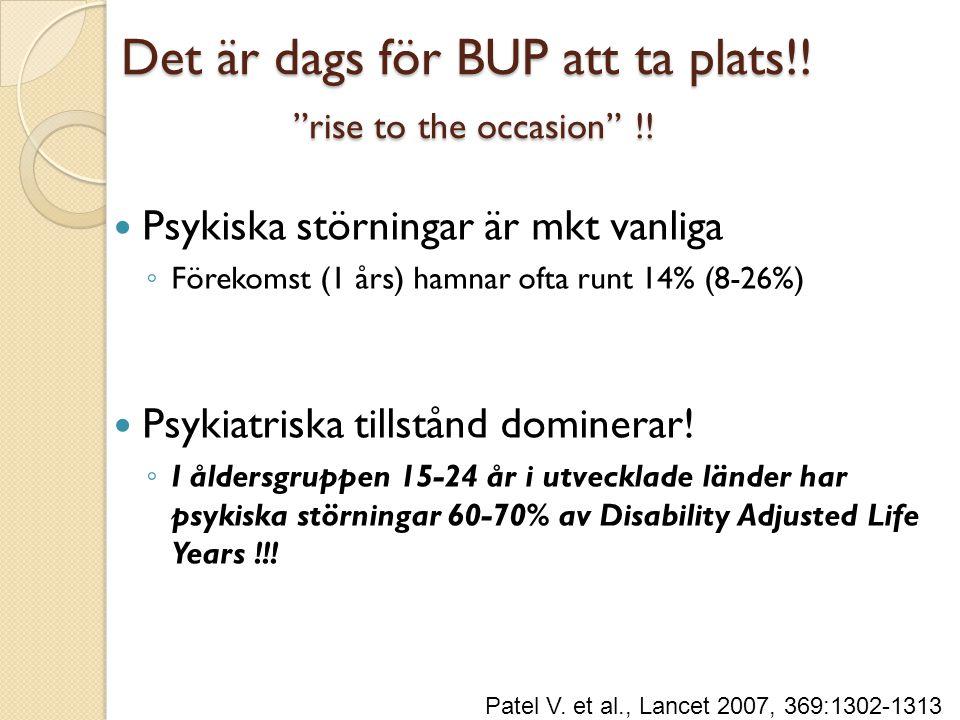 """Det är dags för BUP att ta plats!! """"rise to the occasion"""" !!  Psykiska störningar är mkt vanliga ◦ Förekomst (1 års) hamnar ofta runt 14% (8-26%)  P"""