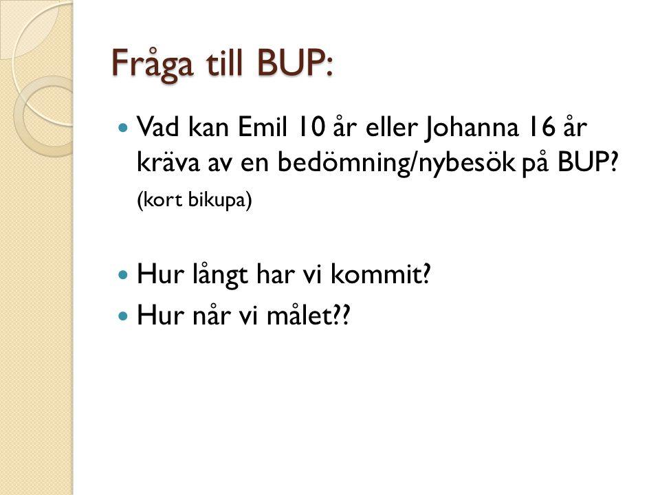 Fråga till BUP:  Vad kan Emil 10 år eller Johanna 16 år kräva av en bedömning/nybesök på BUP? (kort bikupa)  Hur långt har vi kommit?  Hur når vi m