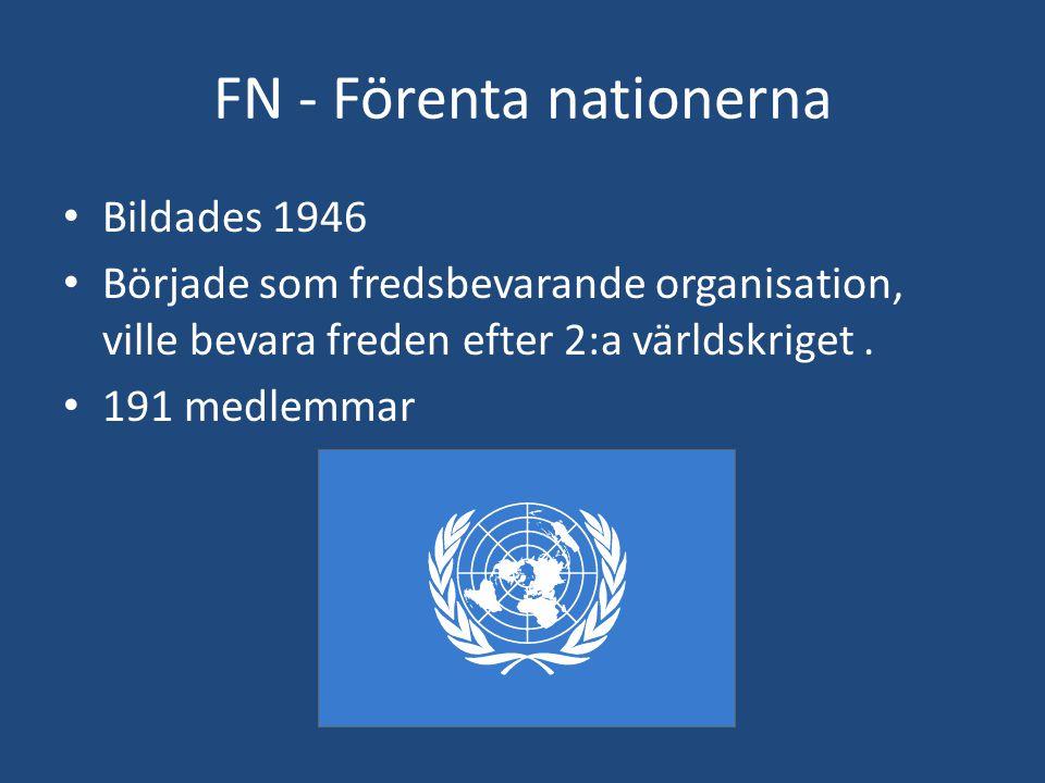 FN - Förenta nationerna • Bildades 1946 • Började som fredsbevarande organisation, ville bevara freden efter 2:a världskriget. • 191 medlemmar