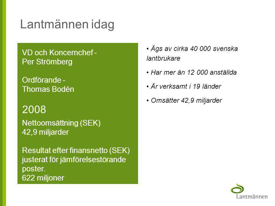 Lantmännen idag VD och Koncernchef - Per Strömberg Ordförande - Thomas Bodén 2008 Nettoomsättning (SEK) 42,9 miljarder Resultat efter finansnetto (SEK