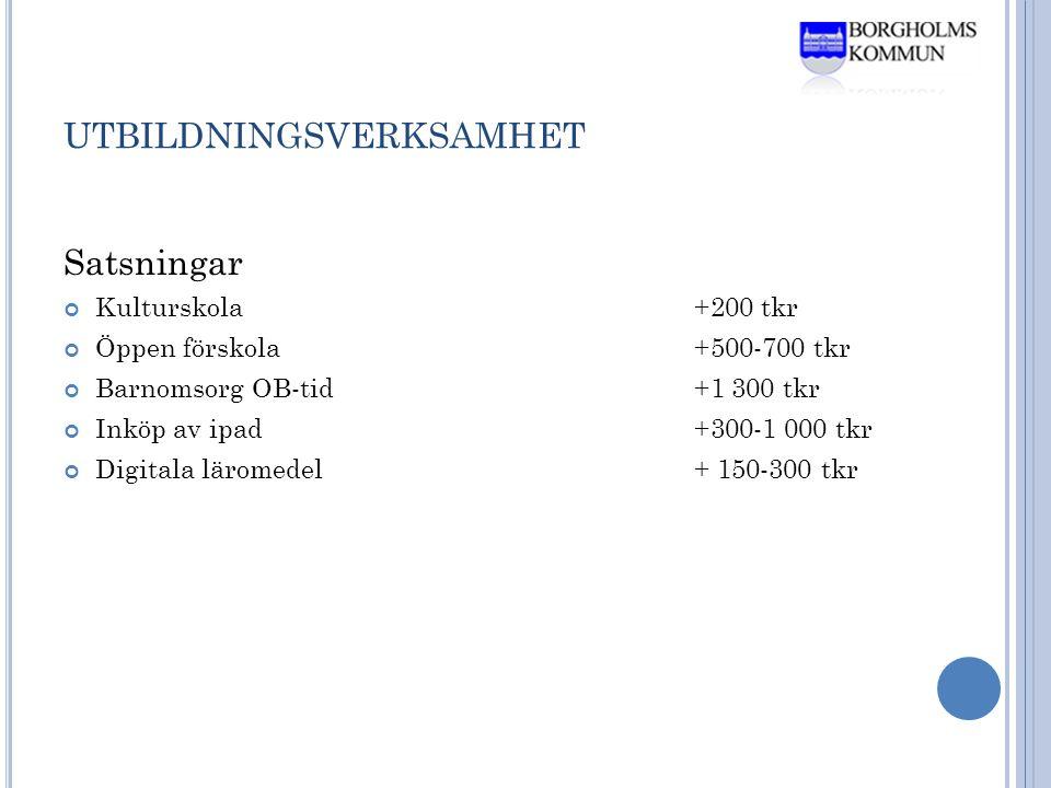 UTBILDNINGSVERKSAMHET Satsningar Kulturskola+200 tkr Öppen förskola+500-700 tkr Barnomsorg OB-tid+1 300 tkr Inköp av ipad+300-1 000 tkr Digitala läromedel+ 150-300 tkr