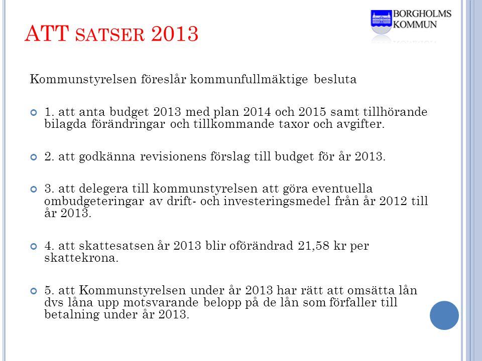 ATT SATSER 2013 Kommunstyrelsen föreslår kommunfullmäktige besluta 1.